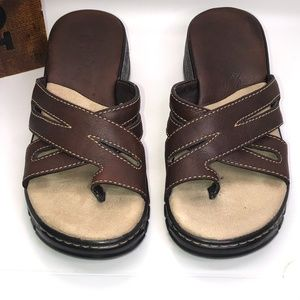 Mia Brown Leather Slide On Sandals Size 7.5